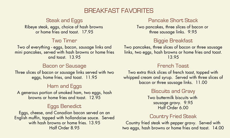 Chief Lake restaurant breakfast menu 1