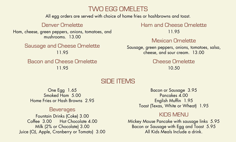 Chief lake restaurant breakfast menu 2